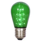 S14 LED Green Transparent Plastic 130Volt Bulb E26 Medium Nickel Base 16 Diodes 1 Watt UL Dimmable