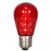 S14 LED Red Transparent Plastic 130Volt Bulb E26 Medium Nickel Base 16 Diodes 1 Watt UL Dimmable