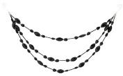 46cm Shiny Black Beaded Jewel Three Tier Drape Christmas Garland