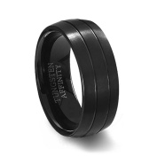 Black Brushed Tungsten Carbide Ring & 2 Polished Grooves - 7MM Width