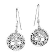 925 Sterling Silver Celtic Round Tree of Life Dangle Earrings Hooks Set
