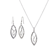 G & H Sterling Silver Double Figure 8 Earrings and Necklace Set
