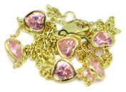 Pink Heart 43cm Necklace,14k Yellow Gold with Extensions