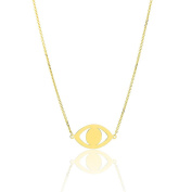 14k Yellow Gold 41cm - 46cm Extendable All Seeing Evil Eye Charm Pendant Necklace for Women and Teen Girls - SL Gold Imports