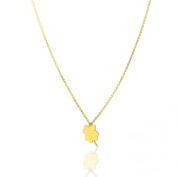 14k Yellow Gold 41cm - 46cm Extendable Fine Irish Lucky 4-Leaf Clover Charm Pendant Necklace for Women and Teen Girls - SL Gold Imports