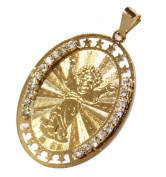 Niño Divino - Child Christ Medal with Cubic Zirconia Bezel 18k Gold Plated Medalla Enchapada Pendant with 46cm Chain