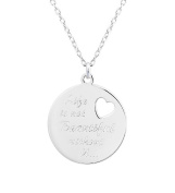 Engraved Life is not Beautiful without you Sterling Silver Round Pendant 41cm