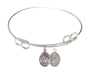 Rhodium Plate Bangle Bracelet with Saint Christopher Air Force Charm, 20cm