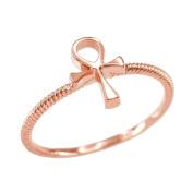 Dainty 14k Rose Gold Egyptian Ankh Cross Ring