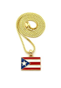 """Women's Puerto Rico Flag Pendant 2mm 16"""", 18"""", 20"""" Box Chain Necklace in Gold Tone"""