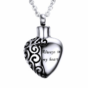"""Stainless Steel """"Always in my heart"""" Urn Pendant Memorial Ash Keepsake Cremation Heart Necklace, 50cm Chain"""