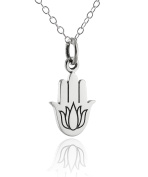 Sterling Silver Lotus Hamsa Charm Pendant Necklace, 46cm Chain, Amulet Protection
