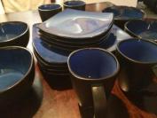 Gibson Home Soho Lounge Square 16-Piece Dinnerware Set Blue Colour