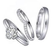 Amazing Fashion GIA Certificate Natural Diamond Gemstone 14K Solid White Gold Wedding Engagement Promise Matching Couple Ring Set