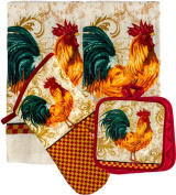 Country Chequered Rooster Kitchen Linen Set