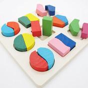 Baby Infant Geometry Block Wooden Puzzle 3D Jigsaw Early Developmental Learning Kids Educational Toy