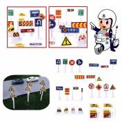 24 Pcs Kids Children Traffic Street Road Sign Toy Set Model Decoration Gift