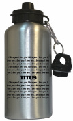 I Love You Titus Water Bottle Silver