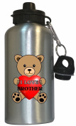 I Love Brother Water Bottle Silver