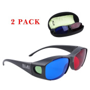 BIAL Red-blue 3D Glasses with Case Glassese Cloth 2 Pack Cyan Anaglyph Simple style 3D movie game- Extra Upgrade