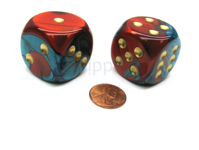 Gemini 30mm Large D6 Chessex Dice, 2 Pieces - Red-Teal with Gold Pips