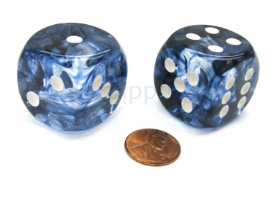 Nebula 30mm Large D6 Chessex Dice, 2 Pieces - Black with White Pips