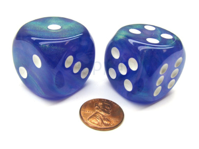 Borealis 30mm Large D6 Chessex Dice, 2 Pieces - Purple with White Pips