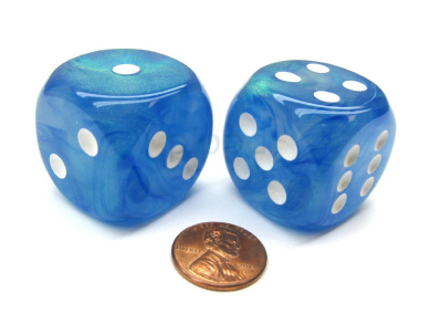 Borealis 30mm Large D6 Chessex Dice, 2 Pieces - Sky Blue with White Pips