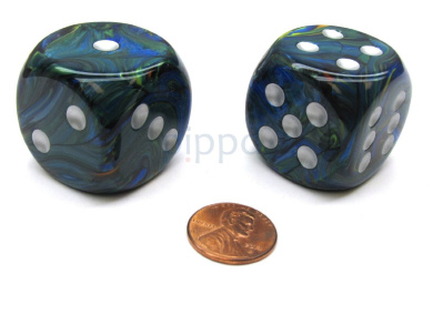 Festive 30mm Large D6 Chessex Dice, 2 Pieces - Green with Silver Pips