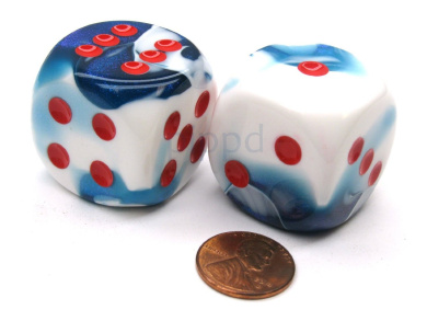 Gemini 30mm Large D6 Chessex Dice, 2 Pieces - Astral Blue with Red Pips