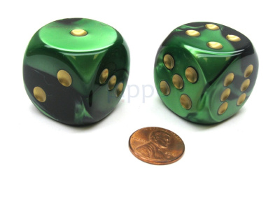 Gemini 30mm Large D6 Chessex Dice, 2 Pieces - Black-Green with Gold Pips
