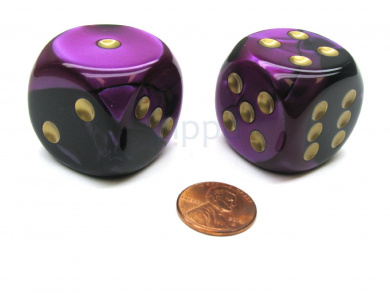 Gemini 30mm Large D6 Chessex Dice, 2 Pieces - Black-Purple with Gold Pips