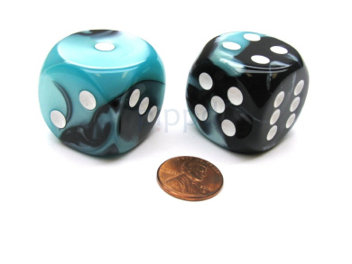 Gemini 30mm Large D6 Chessex Dice, 2 Pieces - Black-Shell with White Pips