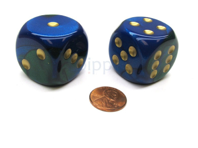 Gemini 30mm Large D6 Chessex Dice, 2 Pieces - Blue-Green with Gold Pips