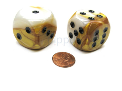 Gemini 30mm Large D6 Chessex Dice, 2 Pieces - Gold-White with Black Pips