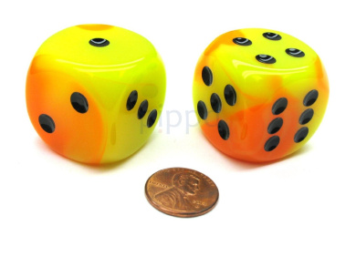 Gemini 30mm Large D6 Chessex Dice, 2 Pieces - Orange-Yellow with Black Pips