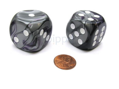 Gemini 30mm Large D6 Chessex Dice, 2 Pieces - Purple-Steel with White Pips