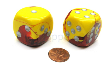 Gemini 30mm Large D6 Chessex Dice, 2 Pieces - Red-Yellow with Silver Pips