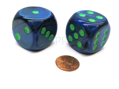 Lustrous 30mm Large D6 Chessex Dice, 2 Pieces - Dark Blue with Green Pips