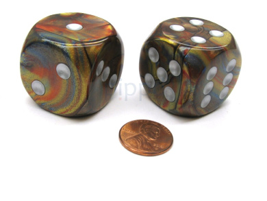 Lustrous 30mm Large D6 Chessex Dice, 2 Pieces - Gold with Silver Pips