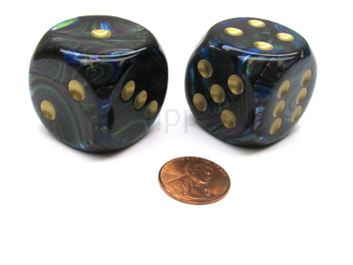 Lustrous 30mm Large D6 Chessex Dice, 2 Pieces - Shadow with Gold Pips