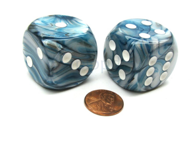 Lustrous 30mm Large D6 Chessex Dice, 2 Pieces - Slate with White Pips