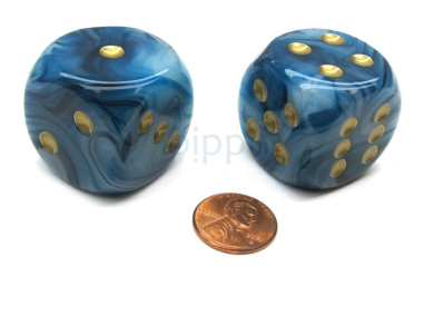 Phantom 30mm Large D6 Chessex Dice, 2 Pieces - Teal with Gold Pips