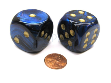 Scarab 30mm Large D6 Chessex Dice, 2 Pieces - Royal Blue with Gold Pips