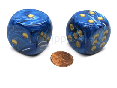 Vortex 30mm Large D6 Chessex Dice, 2 Pieces - Blue with Gold Pips