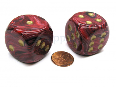 Vortex 30mm Large D6 Chessex Dice, 2 Pieces - Burgundy with Gold Pips
