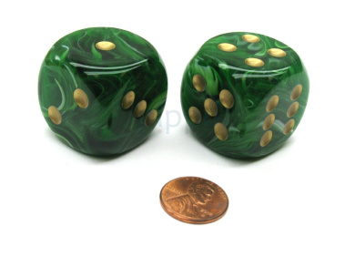 Vortex 30mm Large D6 Chessex Dice, 2 Pieces - Green with Gold Pips