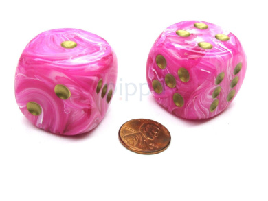 Vortex 30mm Large D6 Chessex Dice, 2 Pieces - Pink with Gold Pips