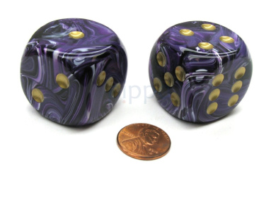 Vortex 30mm Large D6 Chessex Dice, 2 Pieces - Purple with Gold Pips