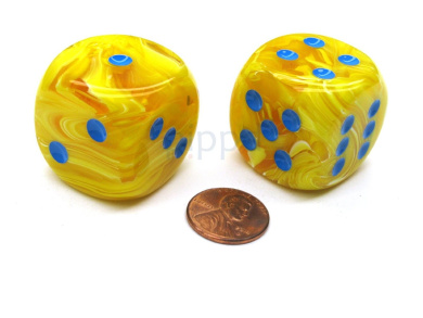 Vortex 30mm Large D6 Chessex Dice, 2 Pieces - Yellow with Blue Pips